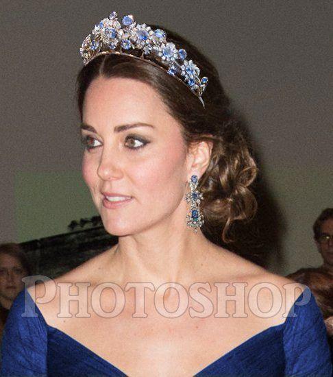 Duchess of Cambridge with the Barberini Sapphire tiara.