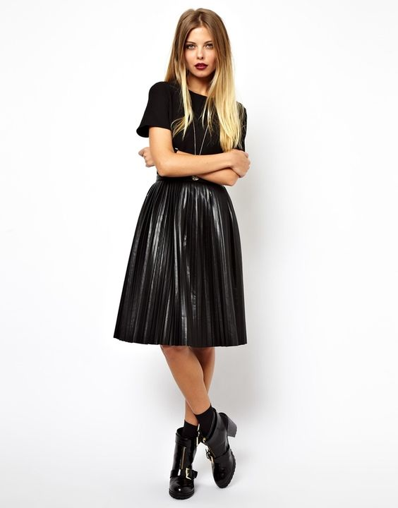 ASOS Skater Dress With Leather Look Pleated Skirt