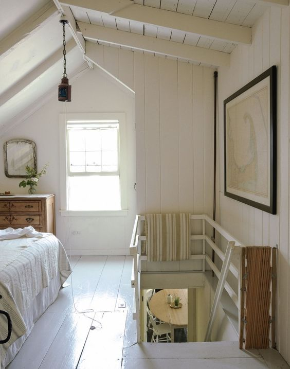 Summer panelling and cottage stairs on pinterest for Cape cod upstairs bedroom ideas