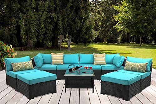 Outdoor Pe Wicker Rattan Sofa 9 Piece Patio Garden Sectional With Turquoise Cu Patio Garden Outdoor Deco Outdoor Furniture Sets