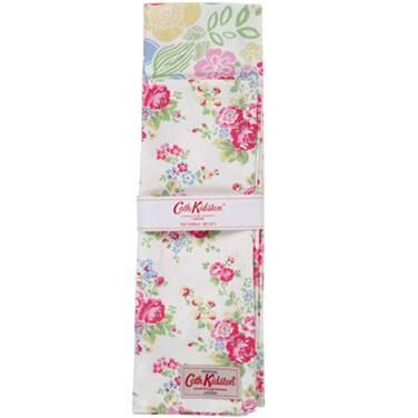 【Cath Kidston】キャスキッドソン ティータオル2枚セットStencilMulti/SprayFlowers TeaTowel - イギリス雑貨と紅茶とハーブティーのお店 English Specialities