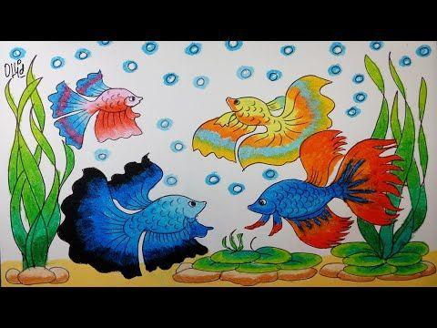 Cara Menggambar Ikan Cupang Dan Tanaman Air Dengan Crayon Oil Pastel Seni Menggambar Pelajaran Seni Cara Menggambar