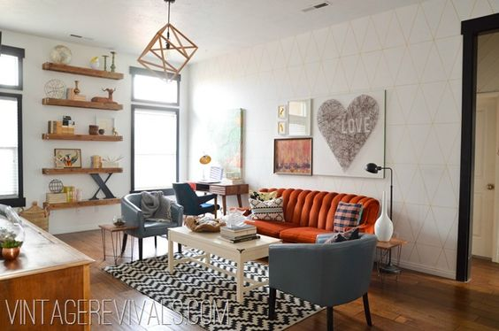 Love this Living Room Makeover @vintagerevivals
