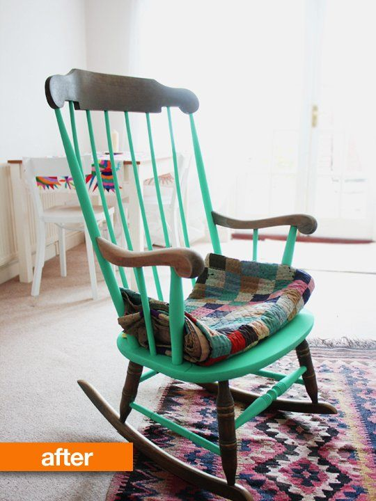 Before & After: This Rocker's More Glam Than Granny. She sanded the seat, arms and back (taking off several layers of skin along with the peeling varnish) and painted them in a quirky neon turquoise (an unexpectedly and fun choice)
