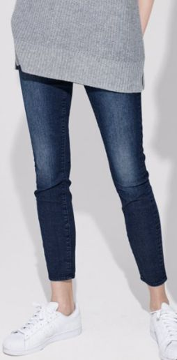 distressed dark blue wash skinny jeans