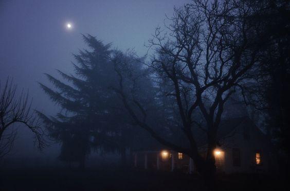 1885 farmhouse and fog make for an eerie evening.
