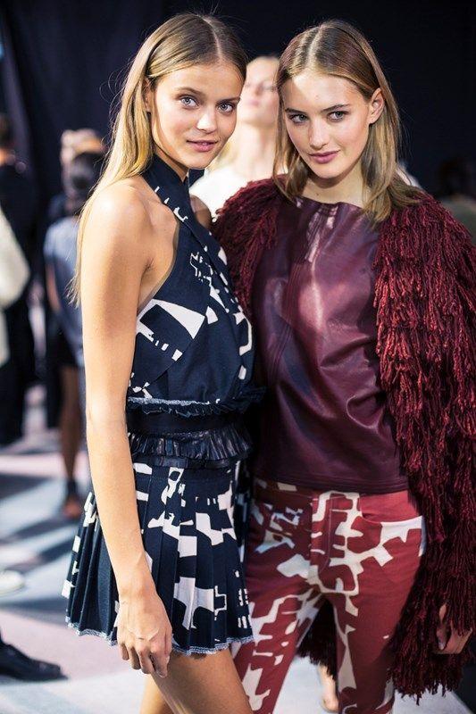 Left, Kate Grigorieva (OUI) Right, Sanne Vloet (Viva) backstage at Isabel Marant SS15