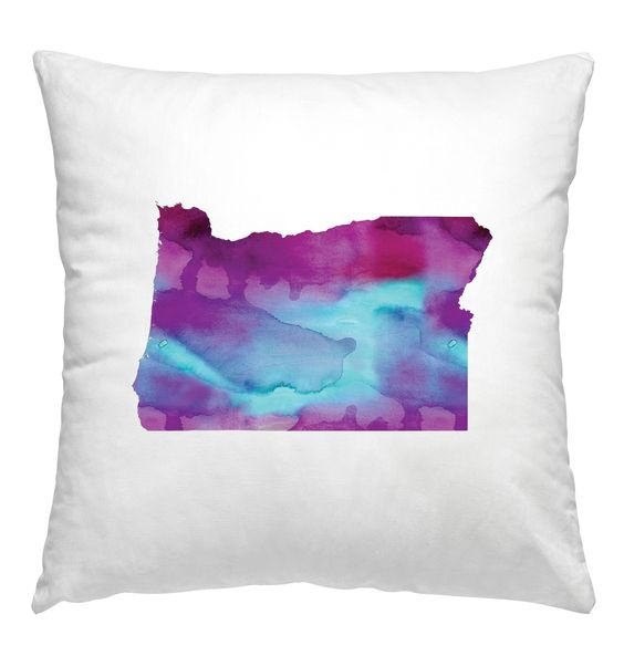 Oregon watercolor pillow in blue and purple