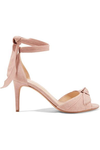 Heel measures approximately 75mm/ 3 inches Blush suede  Ties at ankle