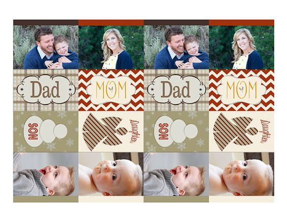 Family Photo Gift Tag Set  sheet of 8 2.5x3.5 print at home tags by MelindaBryantPhoto, $16.00  Christmas, printable, holiday, children, chevron, plaid, snowflakes, stripes, brown palette, baby pictures, snowman, custom, personalized, matching
