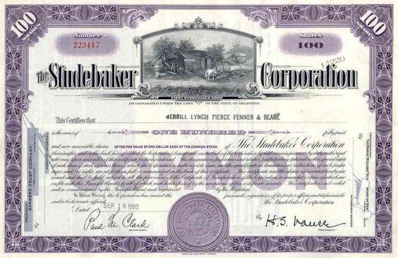 1950s Studebaker Corporation Stock Certificate Stock Certificates Dow Jones Index Ink Stamps
