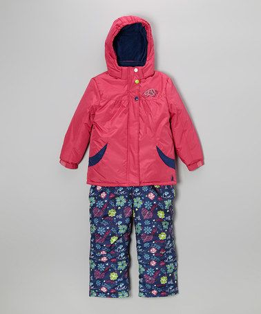 Take a look at this Fuchsia Snow Jacket & Blue Bib Pants - Infant, Toddler & Girls by Rugged Bear on #zulily today!