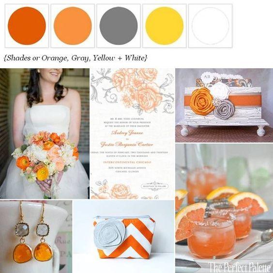 Shades of Orange, Gray, Yellow + White http://www.theperfectpalette.com/2012/03/citrus-soiree-shades-of-orange-gray.html#