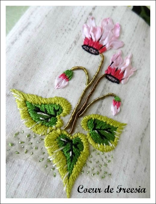 Cyclamen. Broderie. Cecile Franconie