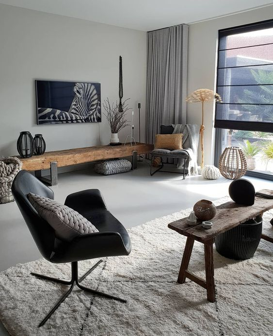 Rustic wood with contemporary design Indian Apartment Interiors
