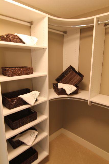 Closet storage nice around the corner space for the Master bedroom closet hardware