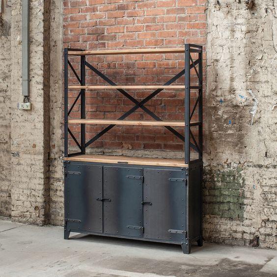 Wood and Metal Industrial Sideboard