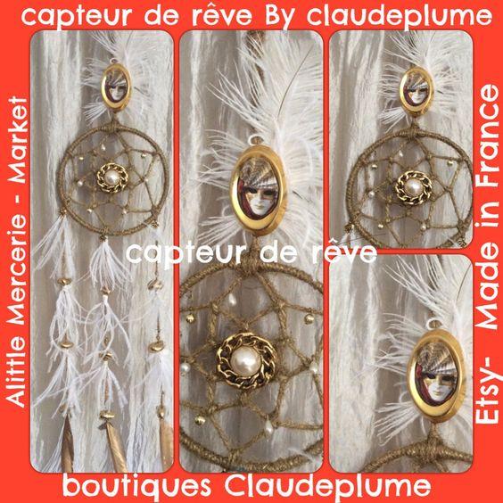 Capteur de rêve porte photos plumes blanc et or : Accessoires de maison par claudeplume