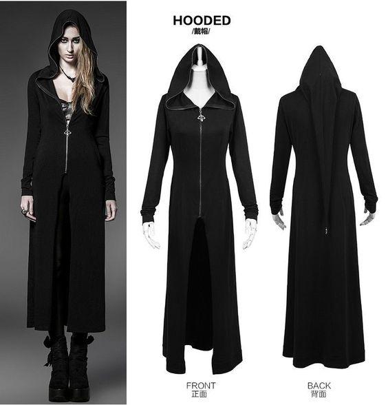 Punk Rave Steam Long Cardigan Shirt Jacket Black Witches Gothic Visual Kei M XL