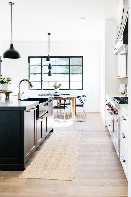 Light Wood Flooring White Kitchen Cabinetry Black Kitchen