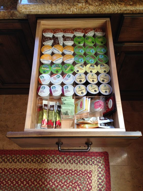 K-Cup drawer organized?.....CHECK!  Everything now fits neatly into the drawer, separated by flavors, and ready to make a fresh cup of joe! #K-Cup #OrganizeMyDrawer.com #drawerorganizer