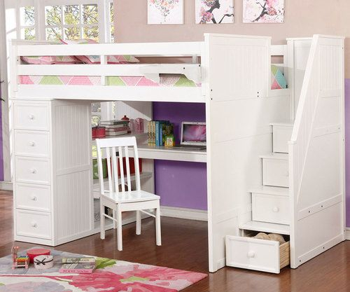 Donco Low Loft Bed With Desk And Storage Twin Size White Kids