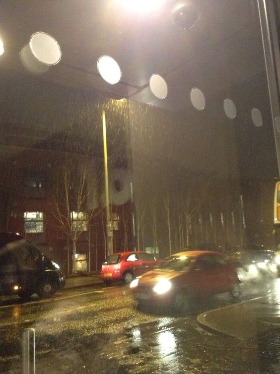 Snowing outside the theatre.