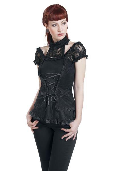 """Maglia nera donna """"Corsage Look"""" della collezione #Gothicana con lacci intrecciati sul davanti e decorazioni in pizzo 100% poliestere."""