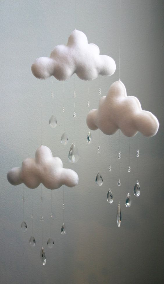 Modern three cloud felt baby mobile with crystal glass for Unusual baby mobiles