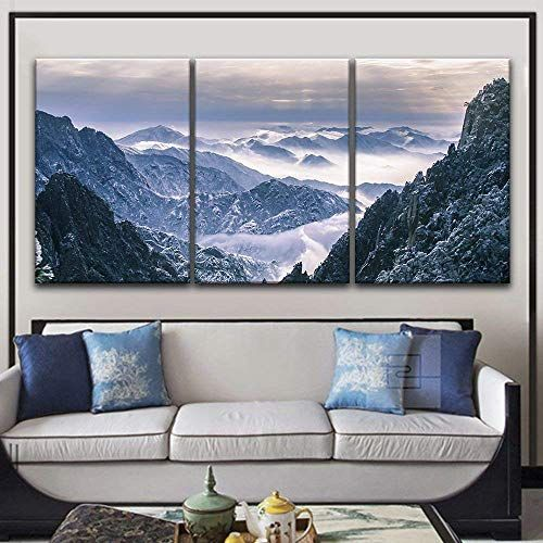 3 Panel Landscape Of Snow Covered Mountains X 3 Panels Landscape Wall Art Framed Canvas Wall Art Mountain Wall Art