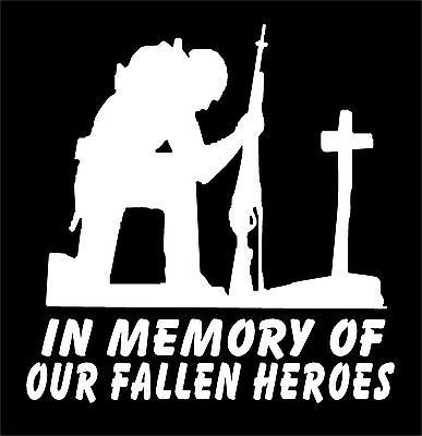 Details About Soldier Kneeling At Cross Decal In Memory Of