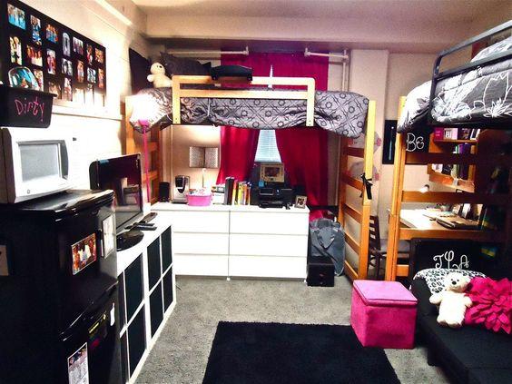 Dividindo o quarto com muito estilo in the corner cute for Cool dorm room layouts