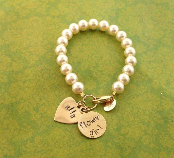 Swarovski Pearl Bracelet with Name/Saying/Phrase/bridesmaids gifts/Flower Girl Gift on Etsy, $48.00