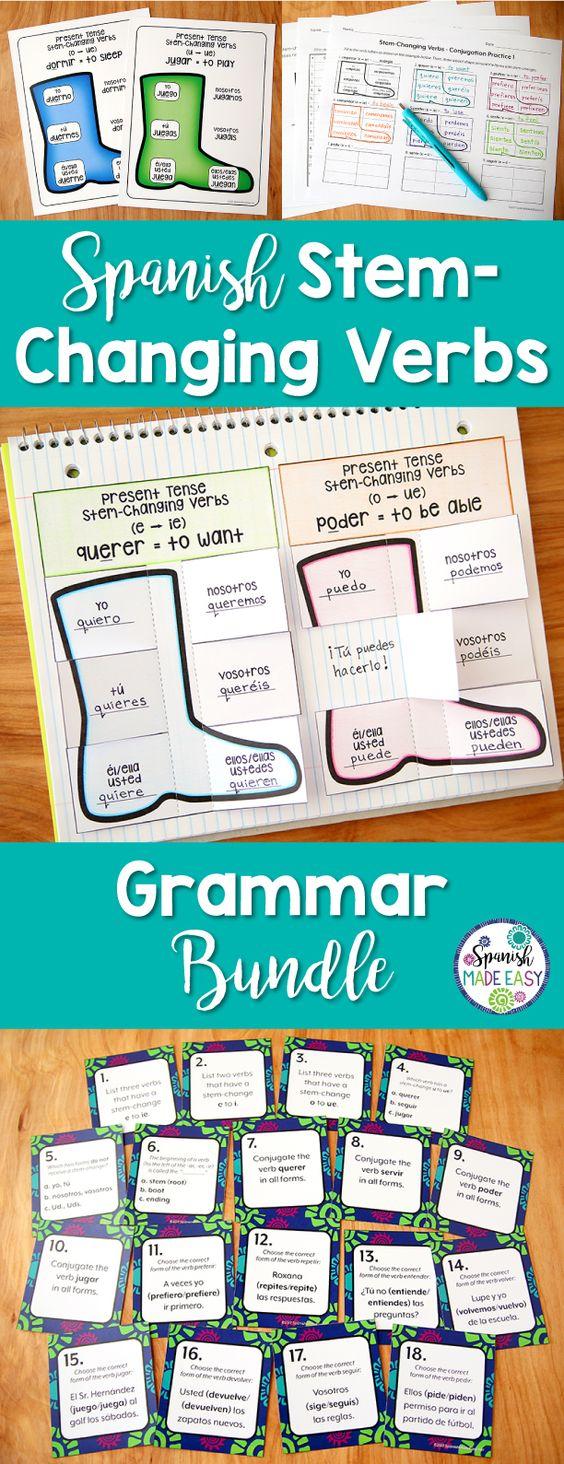 Spanish Stem Changing Verbs Grammar Bundle Grammar Bundle Spanish Interactive Notebook Labeling Activities [ 1464 x 564 Pixel ]