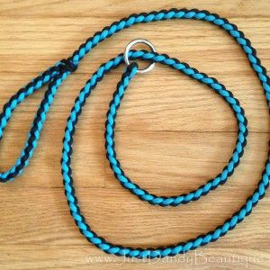 Diamond braided paracord slip lead dog leash measures for Paracord leash instructions