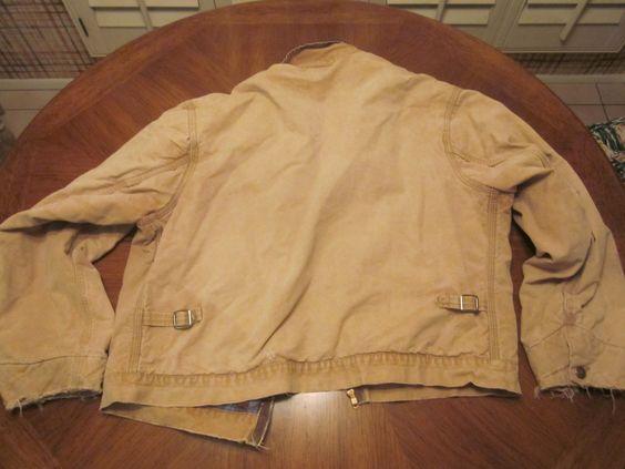 40s 50's HERCULES brown duck Denim 3 pocket work jacket Flannel lining 2 buckle