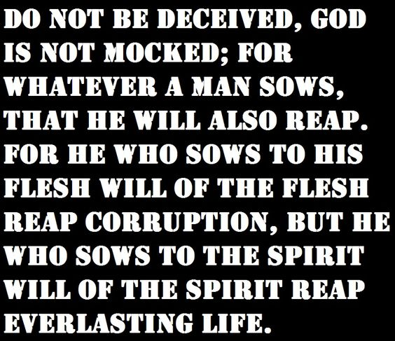 Galatians 6:7-8 Saints let us continue to live for Jesus. He is coming soon.