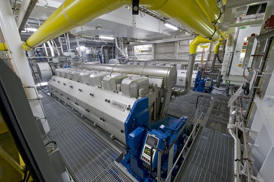 Cruise ship engine room. Similar to the one hosting an ...