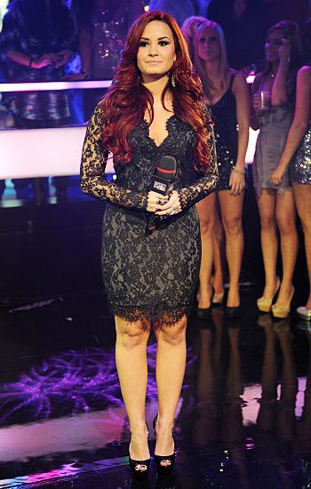 demi lovato new years eve black lace dresslove red