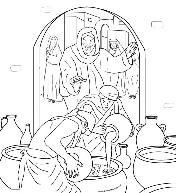 Wedding At Cana Coloring Page Printable The Free