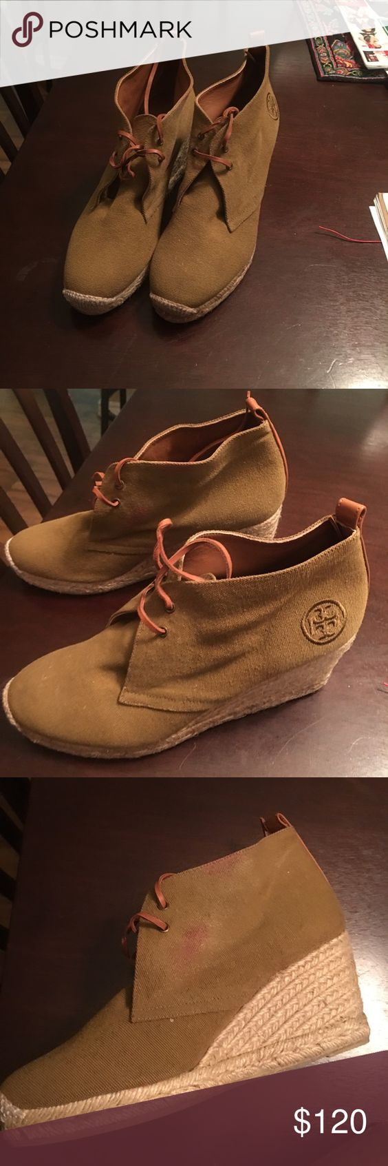 Tory burch Has a red spot u can clean up Tory Burch Shoes Wedges