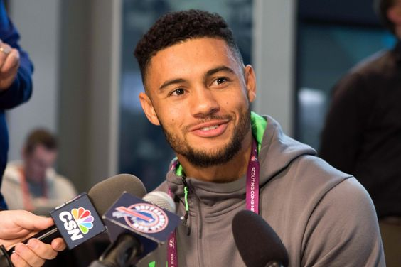 Feb 25, 2016; Indianapolis, IN, USA; Arizona State wide receiver D.J. Foster speaks to the media during the 2016 NFL Scouting Combine at Lucas Oil Stadium.  (5472×3648)