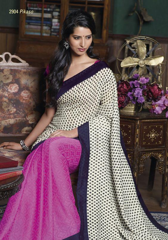 Pink jacquard saree look marvelous with white bhagalpuri pallu & royal blue border patta