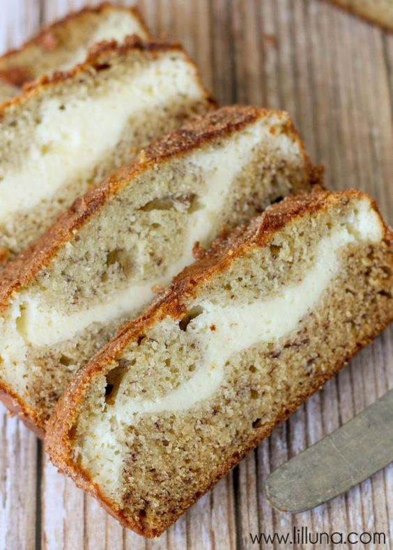 Cream Cheese Filled Banana Bread topped with Cinnamon and Sugar { lilluna.com } [Yes. Please. Some please make this for us! With #FairTrade of course! ;)]