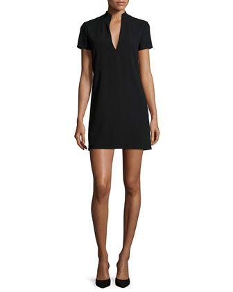 Barry Short-Sleeve V-Neck Mini Dress, Black at CUSP.