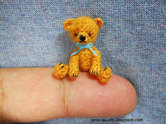 Tiny mohair teddy bear.