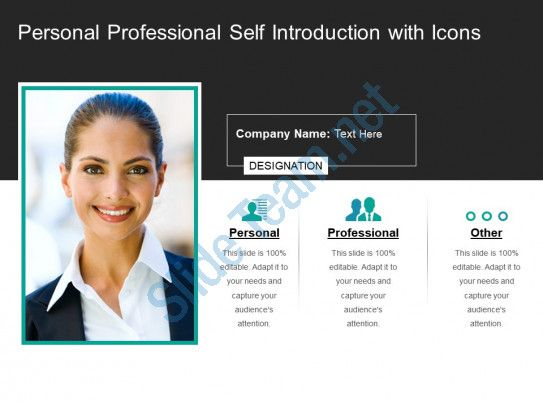 Personal Professional Self Introduction With Icons Slide01