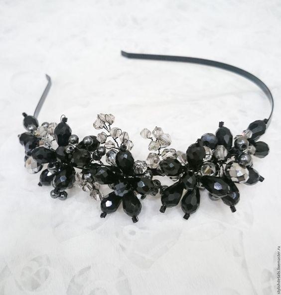 Купить Ободок с черными бусинами. - черный, ободок для волос, ободок, ободок для девушки, ободок для невесты