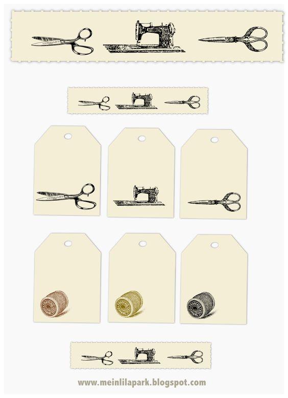 free vintage sewing tags and sewing girl digital stamp – Vintage Etiketten Nähen – freebie   MeinLilaPark – digital freebies