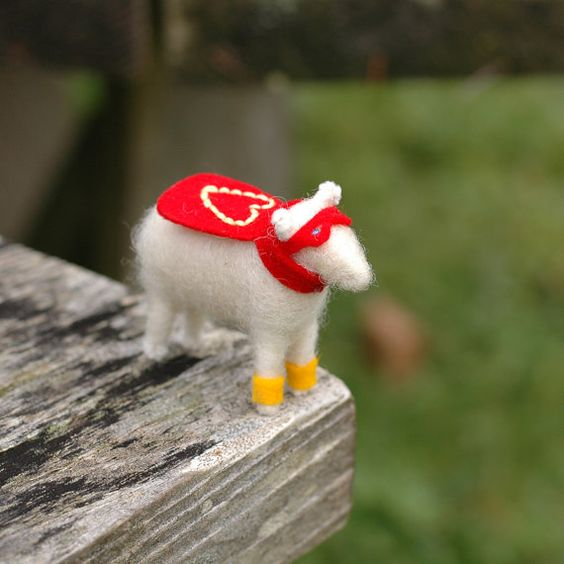 Super Hero Valentine Lamb  Needle Felted Love by BossysFeltworks